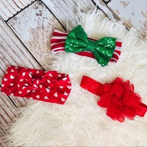 Red Assorted Infant Bow Lot - 0-12M